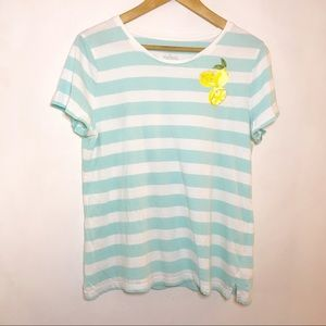 Talbots lemon striped top